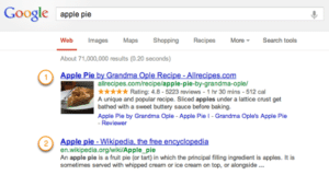 Google - Rich Snippet door Structured Data voorbeeld